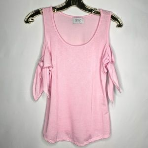 Striped Tee with Knot Sleeves